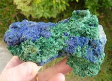 Nice combination of azurite crystals with malachite - 15 x 7 - 721 g