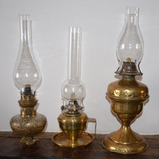 Three kerosene lamps, Belgium, ca. 1930
