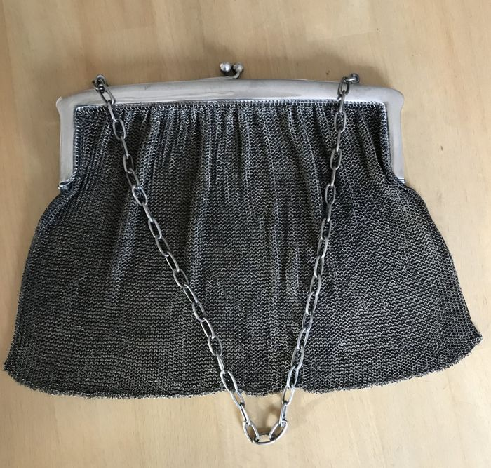 Large silver clutch purse, Lekube