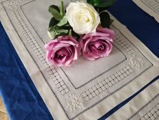 Set of 6 pure linen centrepieces with handmade floral embroidery and pea hemstitch.