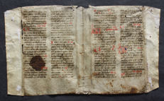 Manuscript; French breviary in double-leaf on vellum - Prayers of Pope Saint Gregory I - 1450