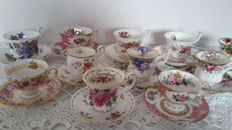 Beautiful collection of eleven vintage original Royal Albert teacups and saucers, made in England