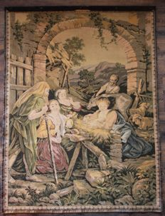 Nativity - Birth of Jesus in Bethlehem - large tapestry in the taste of Aubusson - France, early 20th
