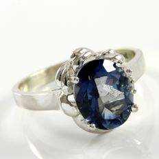14 kt White Gold 0.02 ct Diamonds, 3.75 ct Blue Topaz Ring  Size: 7