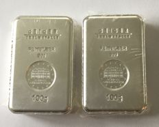 "Germany: 2 x 100 g silver bullion ""Security Line"" Güldengossa Castle"