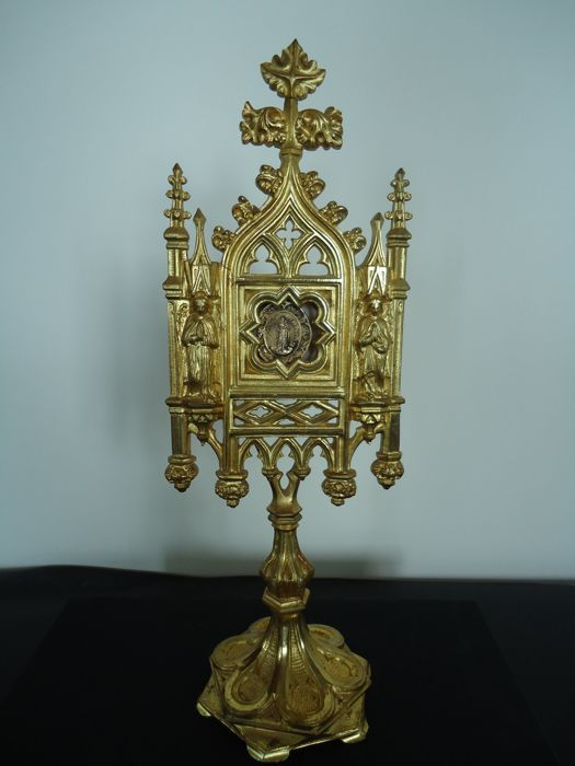 Beautiful Bronze Monstrance, Gold-Plated