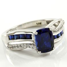 14k White Gold Ring 3.00 ct Created Blue Sapphire and 0.20 ct Created White Sapphire - 7