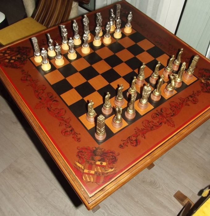 Table chess game and backgammon with two chairs