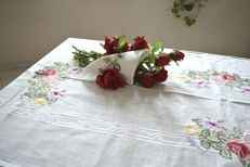 Hand embroidered tablecloth for 12 with lovely embroidery