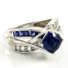 14k White Gold Ring 2.80 ct Created Blue Sapphire and 0.30 ct Created White Sapphire - 7