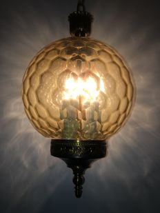 Brass Lantern hallway lamp with amber honeycomb bowl lampshade, France, 1st half of the 20th century