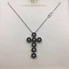 Chimento - necklace with cross pendant, in 18 kt white gold - Length 2.5 cm - Width 1.5 cm