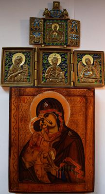 Set of russian orthodox  icon and two bronze enamaled russian travel triptyches, hand painted, tempera, wood, copper alloy, enamel on cast metal.