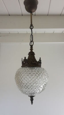 Hanging lamp made of gilded bronze and glass