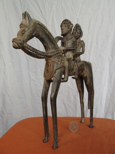 Couple of riders in bronze - DOGON - Mali