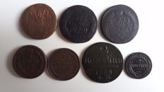 Russia - 2 Kopeck types, 1757, 1758, 1763, 1796, 1818, 1863, 1903, (3 counter stamped), 7 pcs
