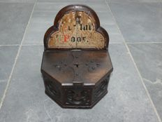Very old collection box from church / cathedral with traces of paint, Gothic style