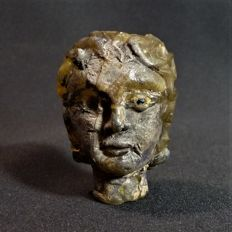 Beautiful Post-medieval glass face after Roman example - high 45 mm