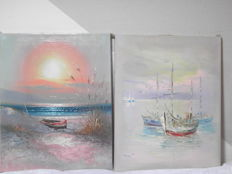 Two paintings with maritime theme - K. Bunin - Oil on canvas