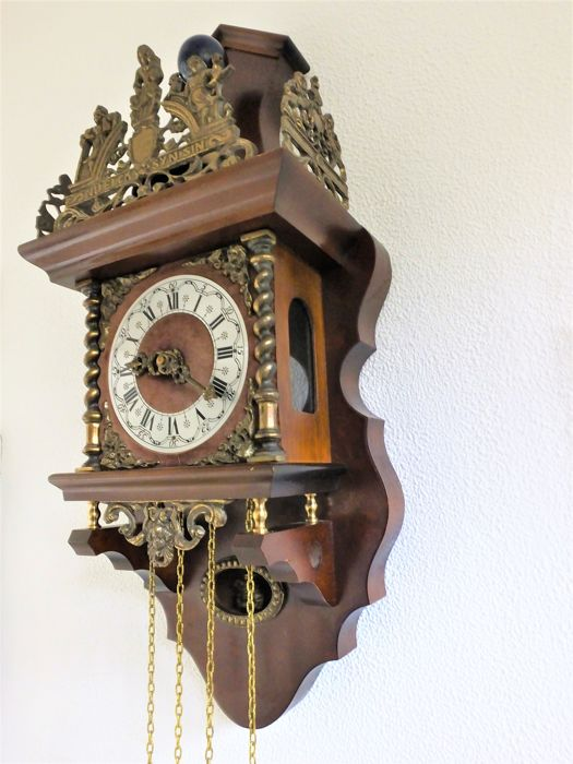 Large Zaanse clock 8 day movement (year 1960) with the pendulum in closed cabinet