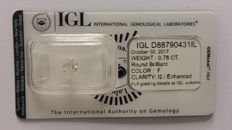 0.78ct Diamond Round cut  F I2 IGL-No Reserve