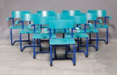 Rumas - set of 10 old industrial design school chairs