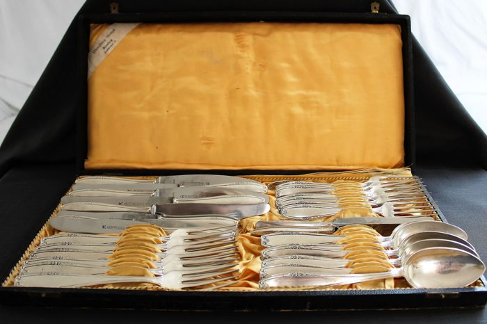 Elegant silver-plated cutlery for 6 persons - Wellner, Germany - 1st half of the 20th century