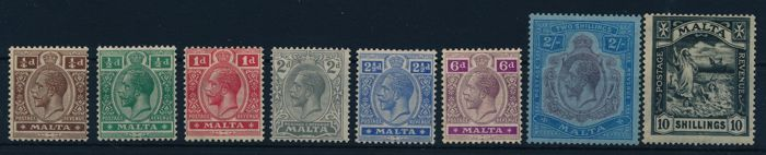 Malta 1921 - stamps, King Georg V and Saint Paul, Michel 56/63