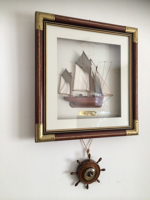 Wooden Frame With Model Ship Thonier Under Glass And A Barometer