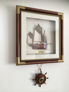 Wooden frame with model ship / THONIER / under glass and a barometer