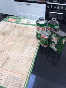Lot of old Castrol oil cans and poster