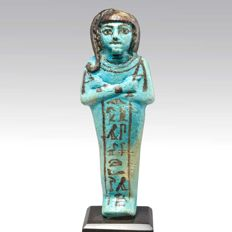 A Published Egyptian Faience Shabti for Prince Khaemwaset - H. 15.2 cm (6 inches)
