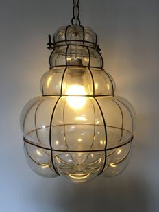 Large Venetian hanging lamp - blown and shaped glass - mid 20th century