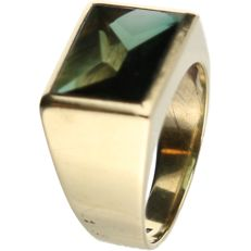 14 kt yellow gold men's ring set with Green quartz - size 18.5