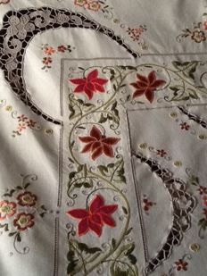 Sophisticated square hand embroidered tablecloth