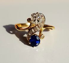 Very beautiful ring toi & moi in 18 kt yellow gold sapphire and diamond in old cut (1 ct each) - RS 55/7US