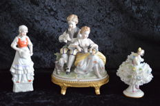 3 beautiful porcelain figurines - Oldest Volkstede - Unterweisbach