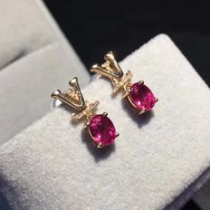 1.2 Carat Tourmaline Earrings In 18K Solid Rose Gold Diamond Earrings Size: 6.5*4.5mm *** Free Shipping *** Free Resizing