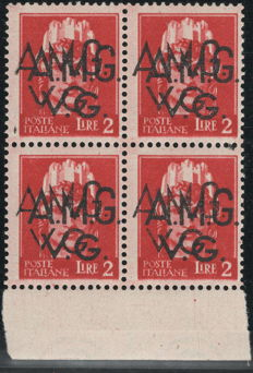 Trieste A 1945 – AMG-VG, 2 Lire, sheet edge block of four with double overprint – Sass. No. 9ee