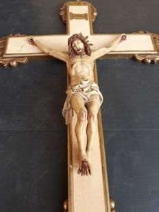 Polychrome wooden crucifix - Spain - 1800s