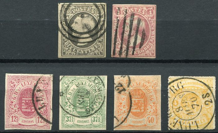 Luxemburg 1852/63 - Coat of arms and First Issue - Yvert 1, 2, 5,  7, 10, 11,
