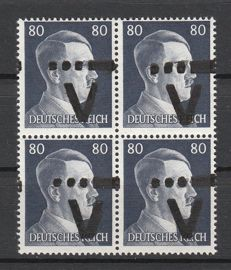 German local issues Westerstede 1945-80 pfennig Hitler's head in block of four with 'V' overprint and Morse code - Michel XVIII