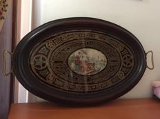 "Wooden tray with stained glass painted with a ""Chinese"" motif in gold, Italy, 19th century"