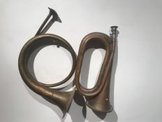 2 x hunting horn, signal horn, hunting horn. hunting, hunters, chasse