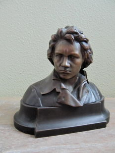 Bronze bust of Ludwig van Beethoven - signed Herlinger - France - early 20th century