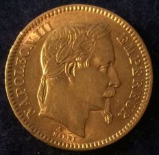 France - 20 Francs - 1864 A - Napoleon III - Gold