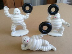 Lot of three vintage Michelin men (Bibendum) - cast Iron 1980-1990
