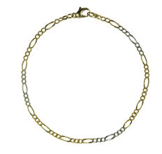 14 kt yellow and white gold figaro link bracelet - 21 cm