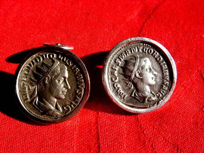 Cufflinks with original antique Roman silver coins from III century A.D. Handmade in silver .925
