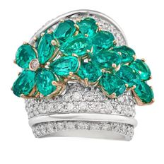 18-kt White Gold Ring with 12.11-ct Emeralds and 4.52-ct Diamonds